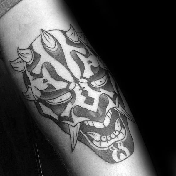 Black And Grey Tribal Forearm Masculine Darth Maul Tattoos For Men