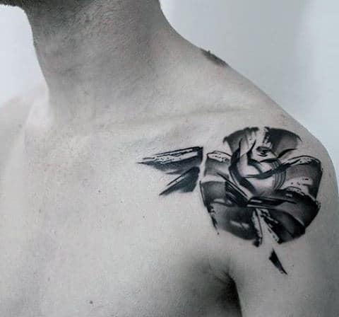 Black And Grey Watercolor Rose Flower Awesome Small Mens Shoulder Tattoos