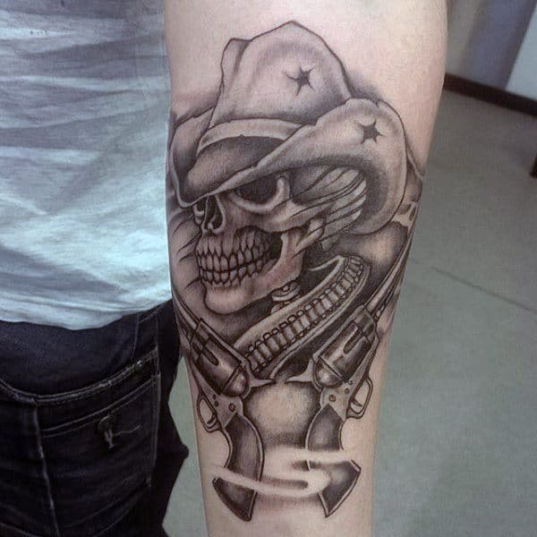 Black And Grey Western Tattoo With Rifles On Man