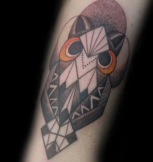 Black And Orange Mens Forearm Geometric Owl Tattoos