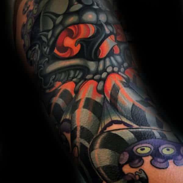 Black And Orange New School Tattoo Male Forearm