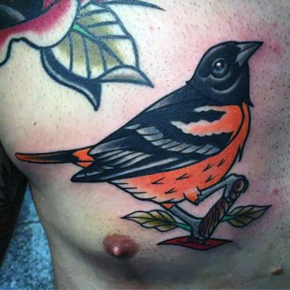 Black And Orange Traditional Bird Mens Chest Tattoos