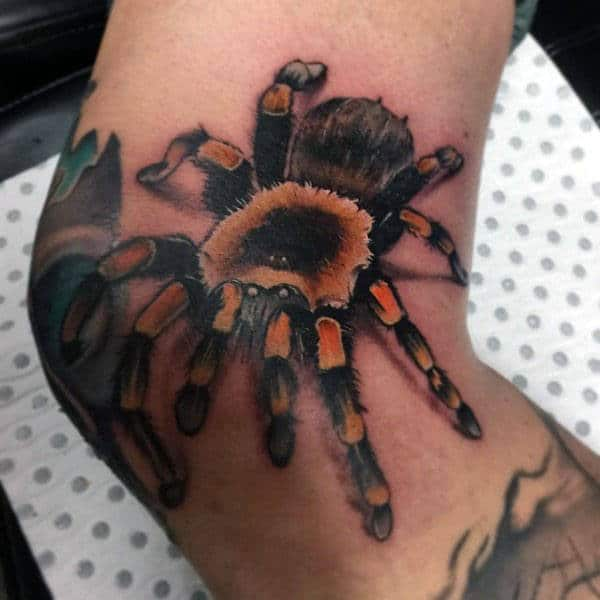 Black And Orange Unique Tarantula Tattoos For Guys