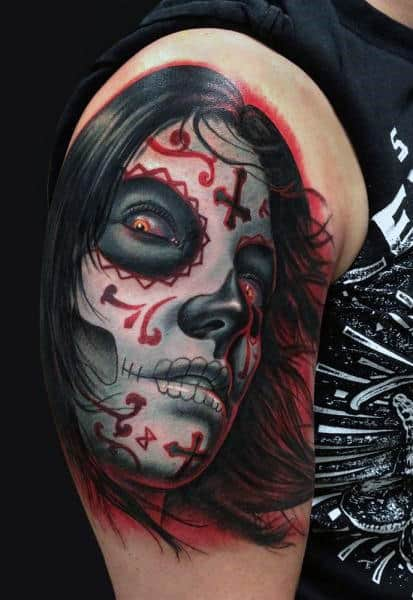 Black And Red Day Of The Dead Lady Tattoo Mens Arms