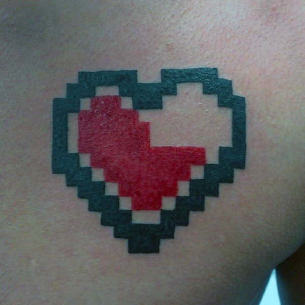 Black And Red Heart 8 Bit Mens Upper Chest Tattoos
