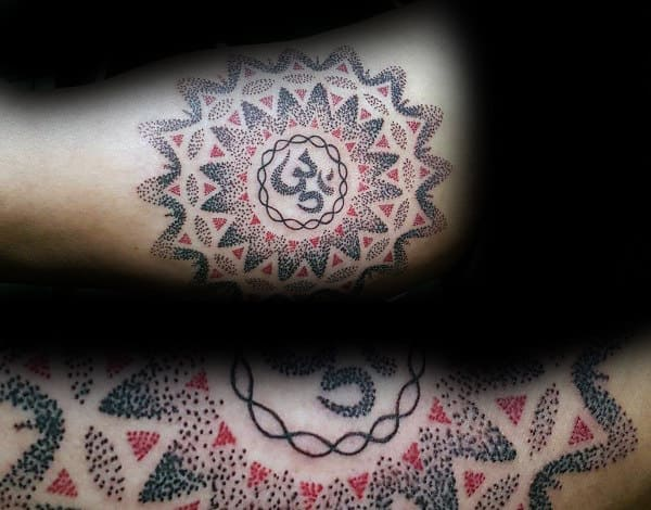 Black And Red Ink Dotwork Mens Bicep Om Tattoos With Geometric Design