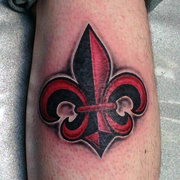 Black And Red Ink Fleur De Lis Mens Arm Tattoos