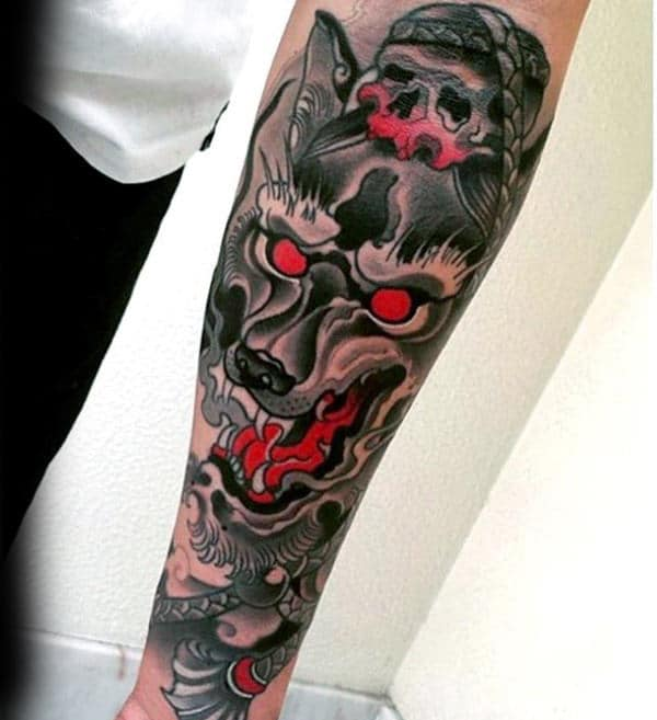Black And Red Ink Guys Wolf Forearm Tattoos