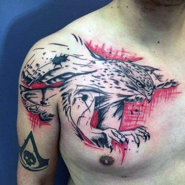 Black And Red Ink Hawk Trash Polka Chest Tattoos For Men