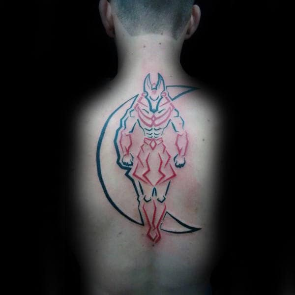 Black And Red Ink Outline Guys Anubis Back Tattoos