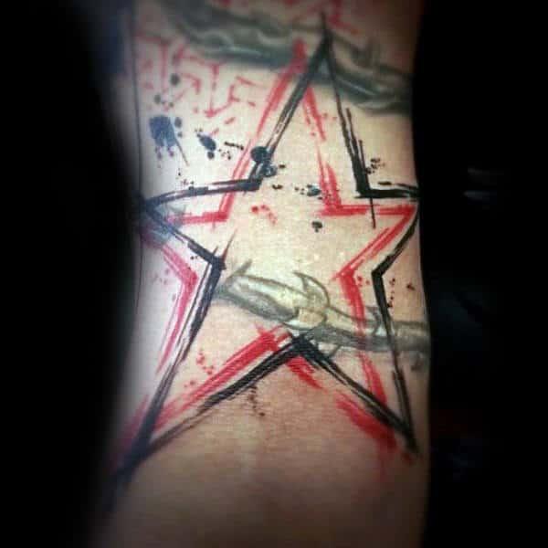 Black And Red Ink Outline Guys Trash Polka Star Tattoos