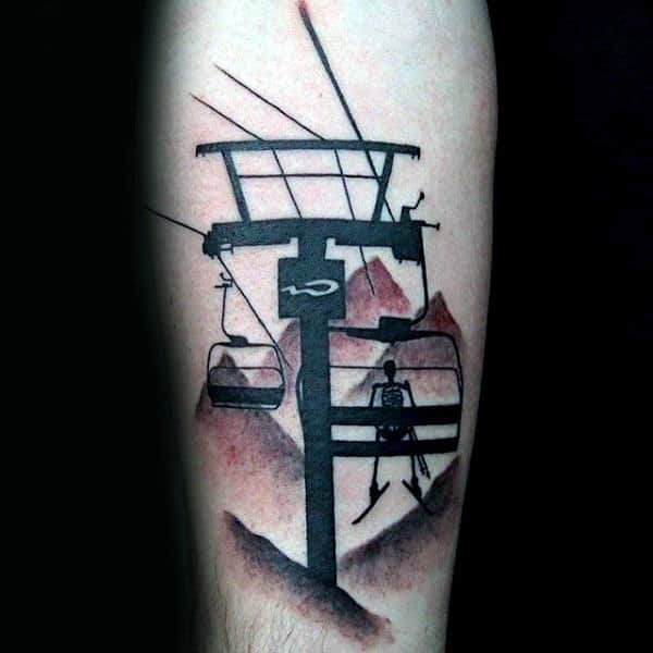 Black And Red Ink Skeleton On Chair Lift Guys Skiing Tattoo