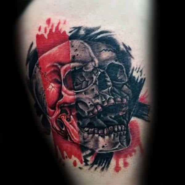 Black And Red Ink Skull Trash Polka Tattoo On Gentleman