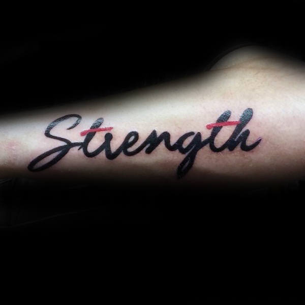 Black And Red Ink Strength Outer Forearm Male Tattoos