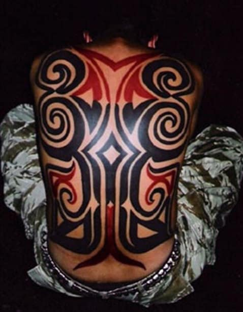 Black And Red Ink Tribal Male Back Tattoo Design Ideas