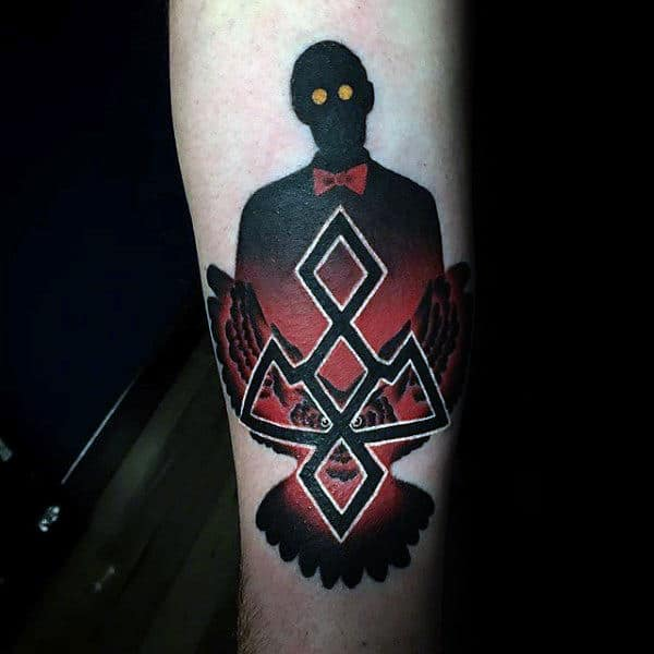 Black And Red Ink Twin Peaks Inner Forearm Tattoo For Males