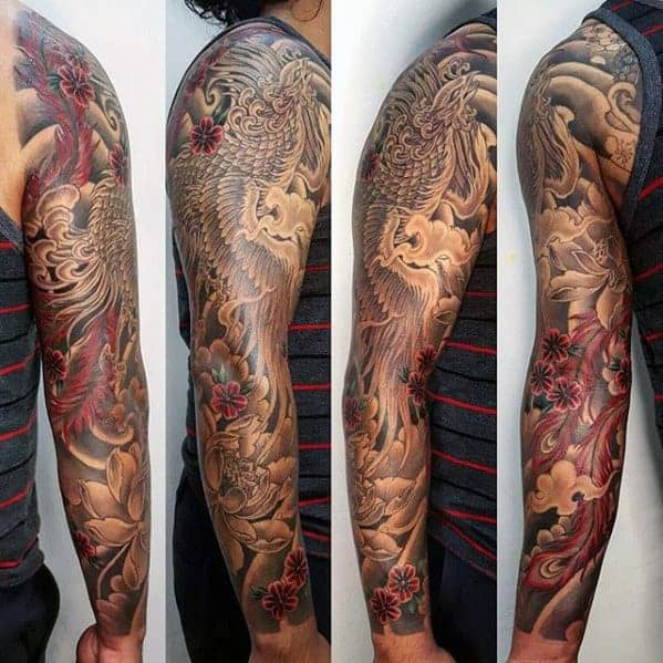 black-and-red-japanese-phoenix-sleeve-tattoo-ideas-for-men