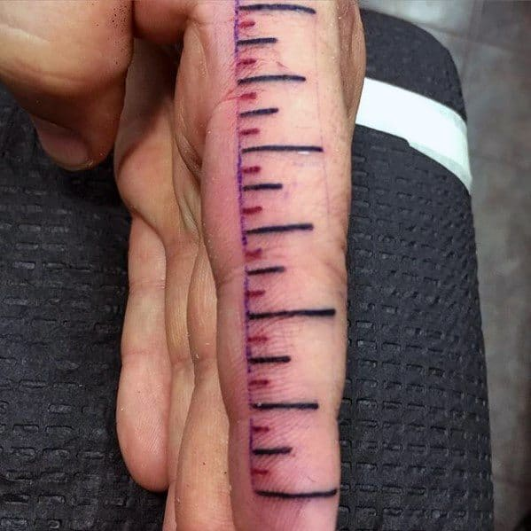 Black And Red Lines Mens Cool Ruler Tattoo Ideas