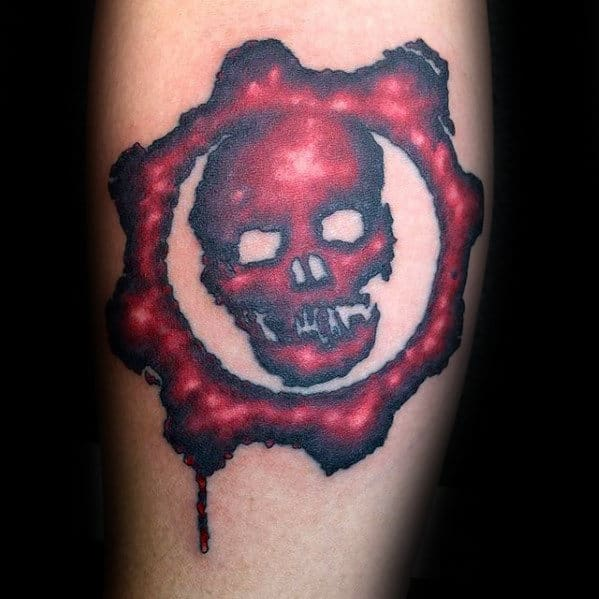 Black And Red Male Gears Of War Skull Inner Forearm Tattoo