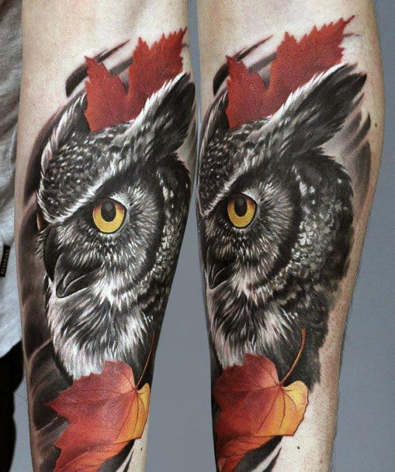 Black And Red Men's Owl Tattoos