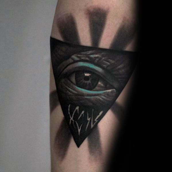 Black And Teal Shaded Eye Of Providence Mens Inner Forearm Tattoo