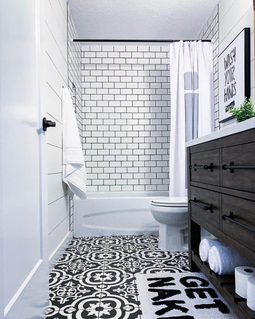 Black And White Basement Bathroom Michellesatra
