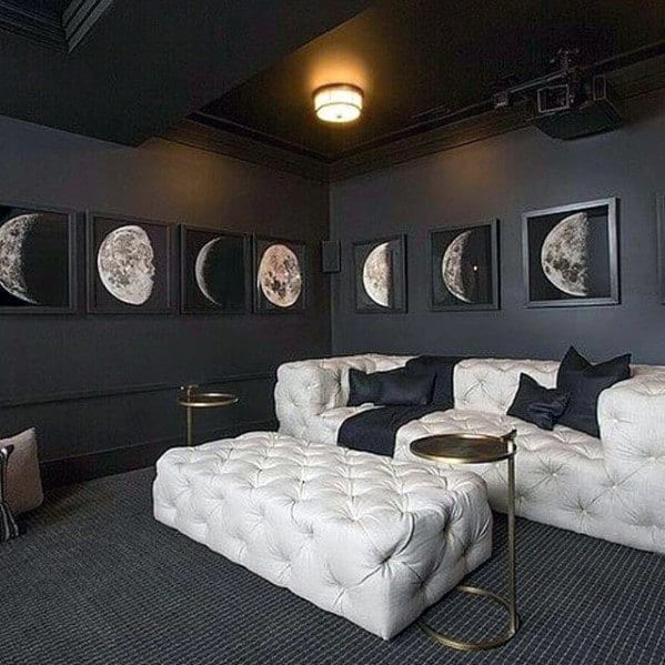 Black And White Basement Man Cave Home Theatre Designs