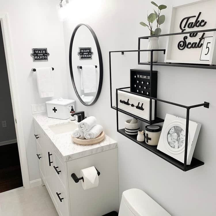 Black And White Bathroom Shelf Brackets Champagnechaos