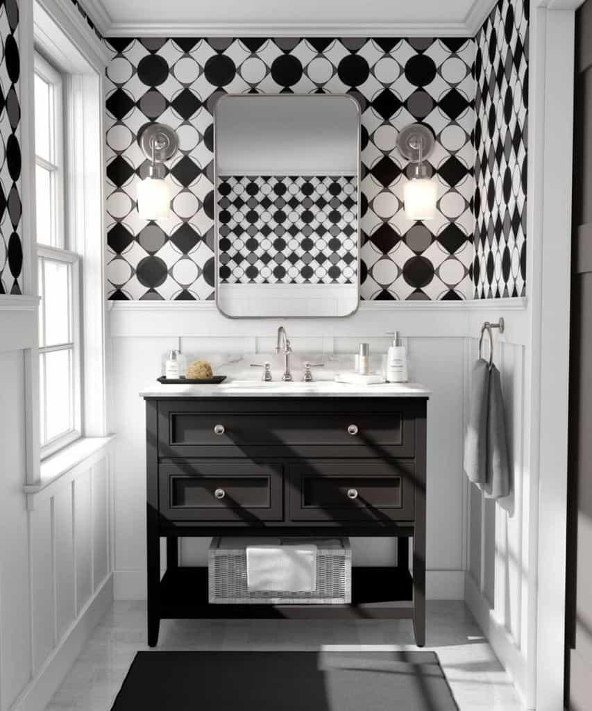 Black And White Bathroom Wallpaper Ideas Designsbydva