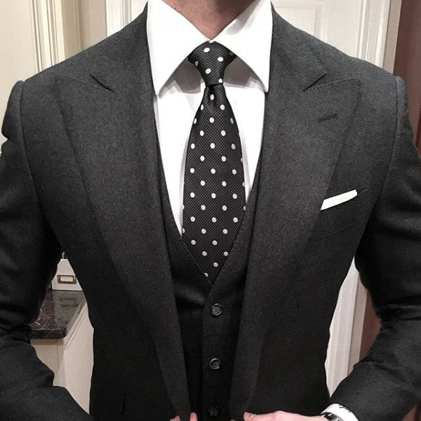 Black And White Dot Tie Superb Male Black Suit Style Design Ideas