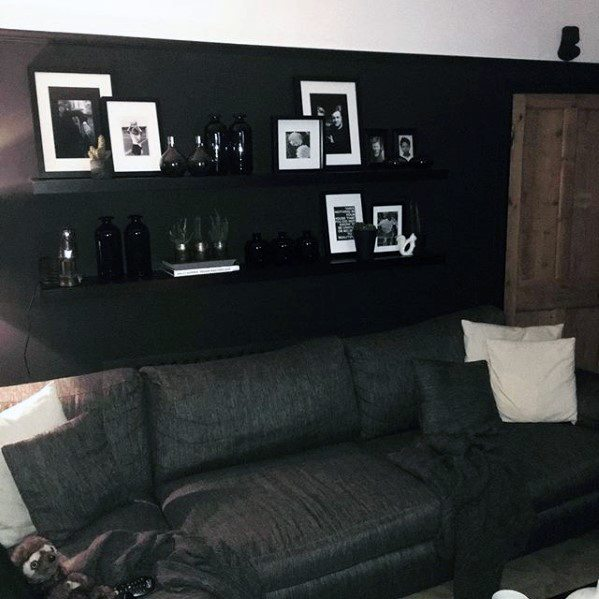 Black And White Framed Objects On Shelf Bachelor Pad Decor