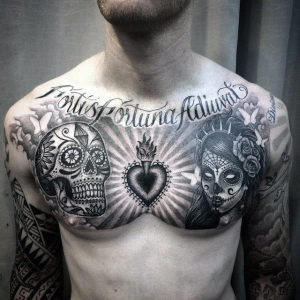 Black And White Guys Sugar Skull Tattoo On Upper Chest