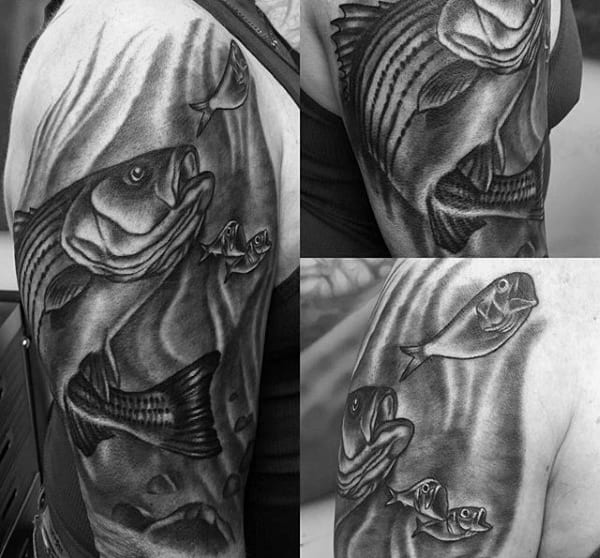 Black And White Half Sleeve Dark Bass Swimming Tattoo On Man