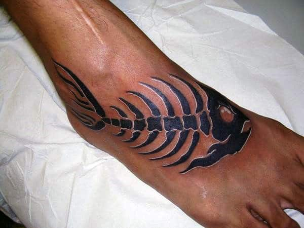 50 fish skeleton tattoo designs for men x ray ink ideas for Mens foot tattoos