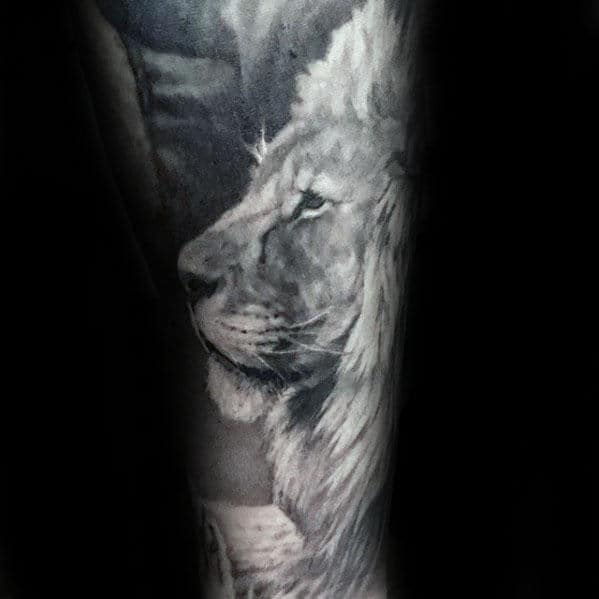 Black And White Ink Guys Realistic Lion Sleeve Tattoo Design Ideas