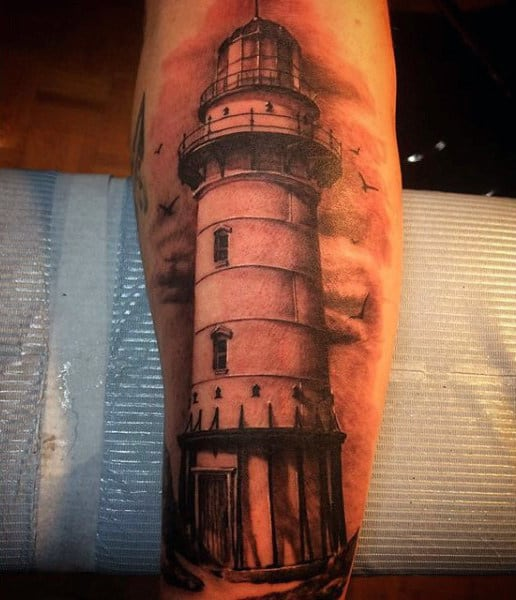 Black And White Ink Lighthouse Tatoo For Men