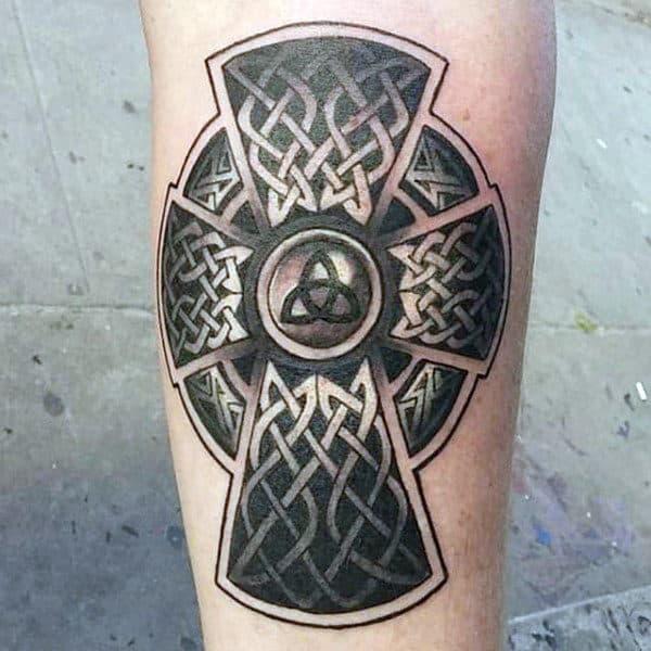Black And White Ink Mens Celtic Cross Leg Tattoos