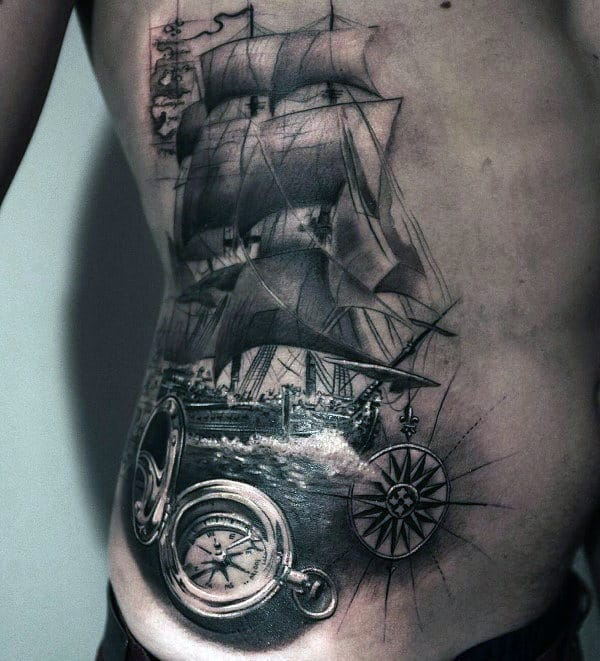 Black And White Ink Mens Nautical Sailing Ship Rib Cage Side Attoo