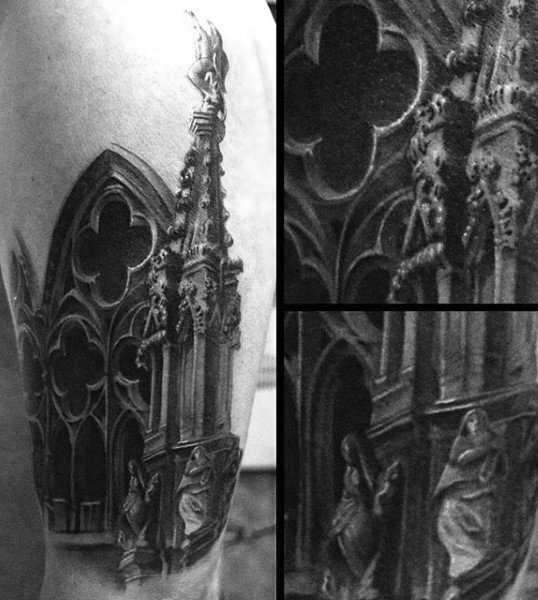 Black And White Ink Shaded Stained Glass Mens Church Windows Tattoo