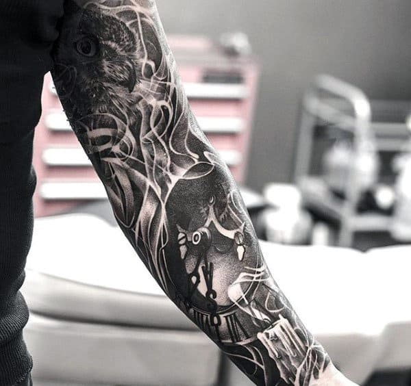 Black And White Interesting Tattoo Male Full Sleeves