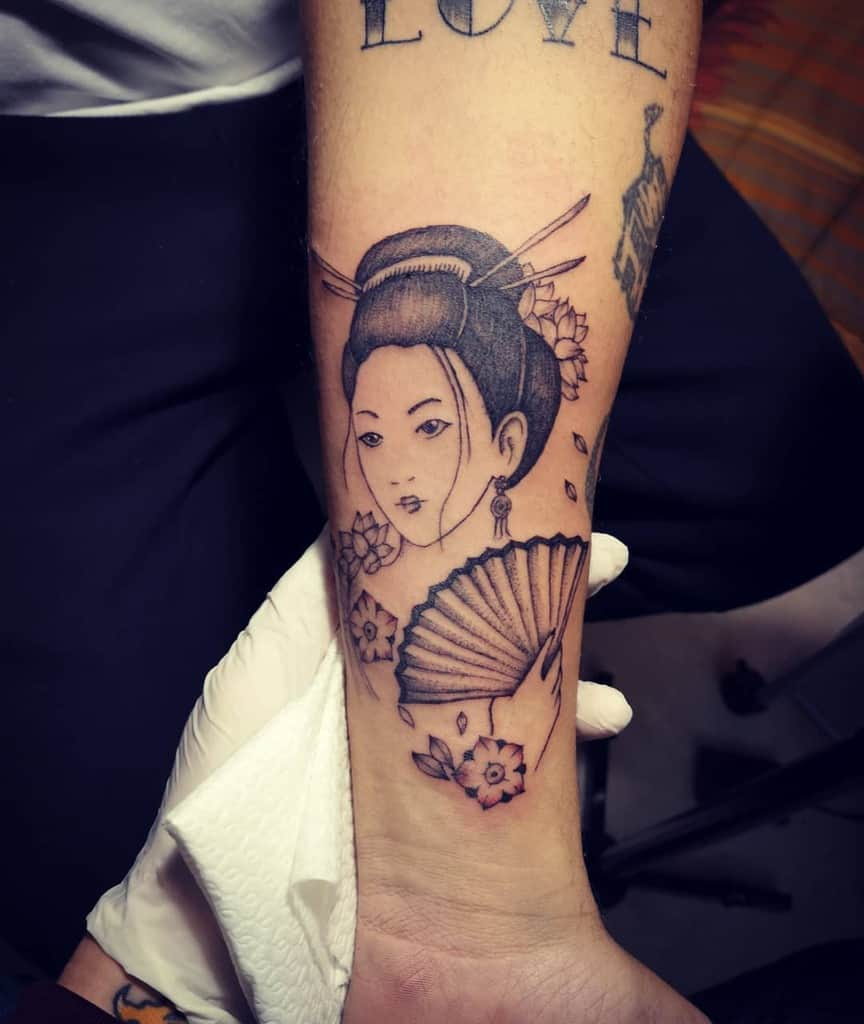 Black And White Japanese Geisha Tattoo