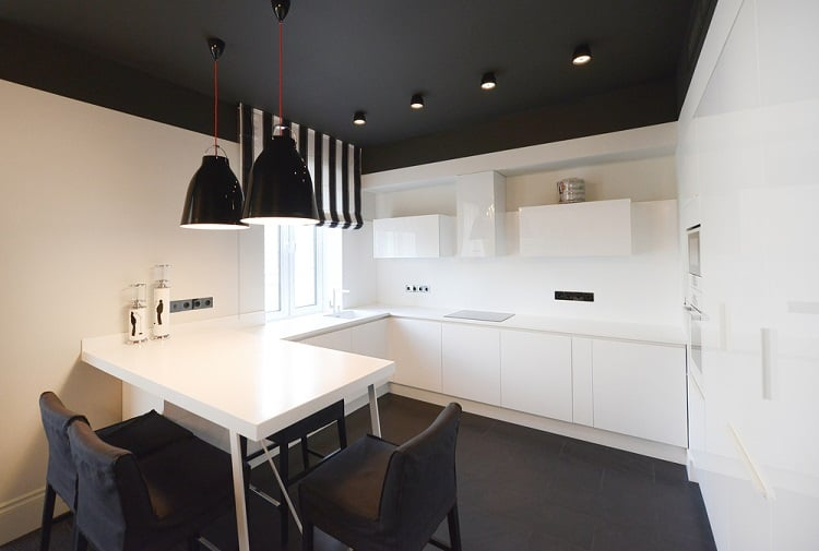 Black And White Kitchen Interior Painted Ceiling