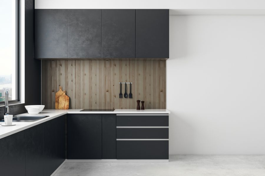 Black And White Kitchen With Wood Color Elements 1