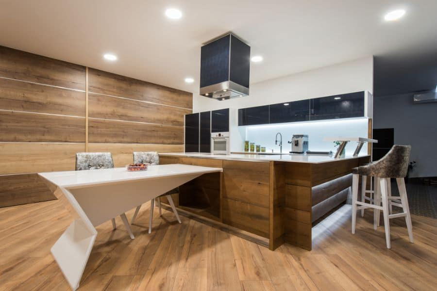 Black And White Kitchen With Wood Color Elements 4