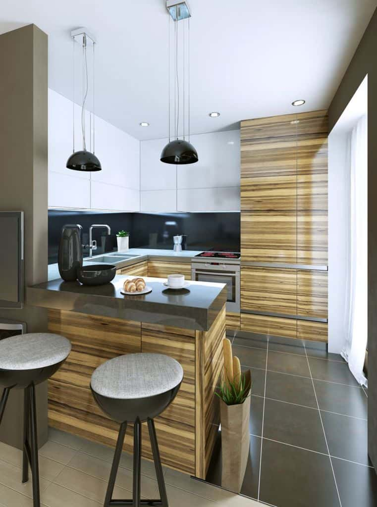 Black And White Kitchen With Wood Color Elements 5