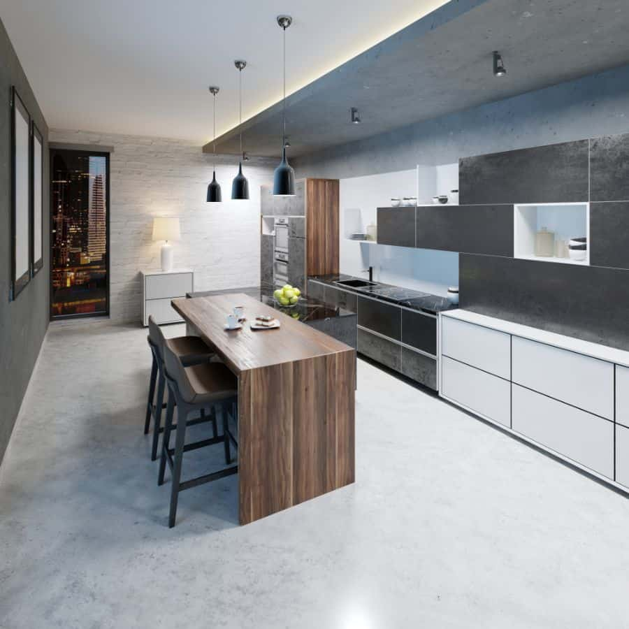 Black And White Kitchen With Wood Color Elements 6