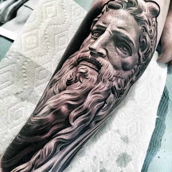 Black And White Large Bearded God Tattoo Male Forearms