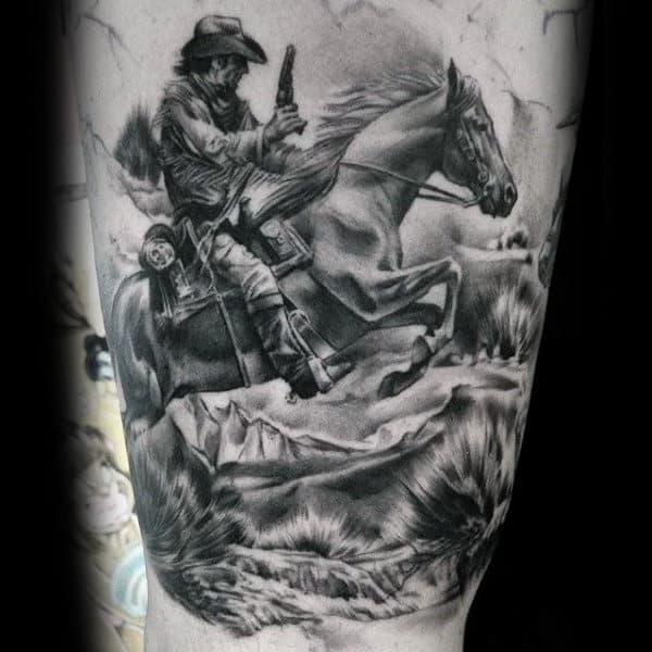 Black And White Man Riding Horse Holding Gun Tattoo On Man