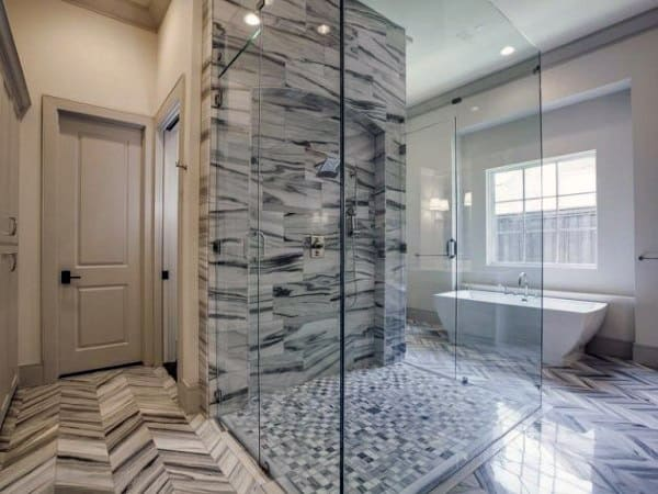 Beau Black And White Marble Cool Showers Ideas Glass Doors