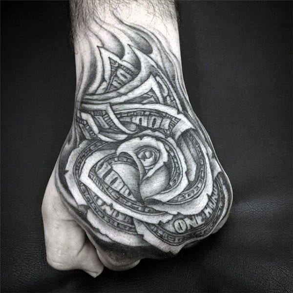 Black And White Mens Money Rose Ink Tattoo Design